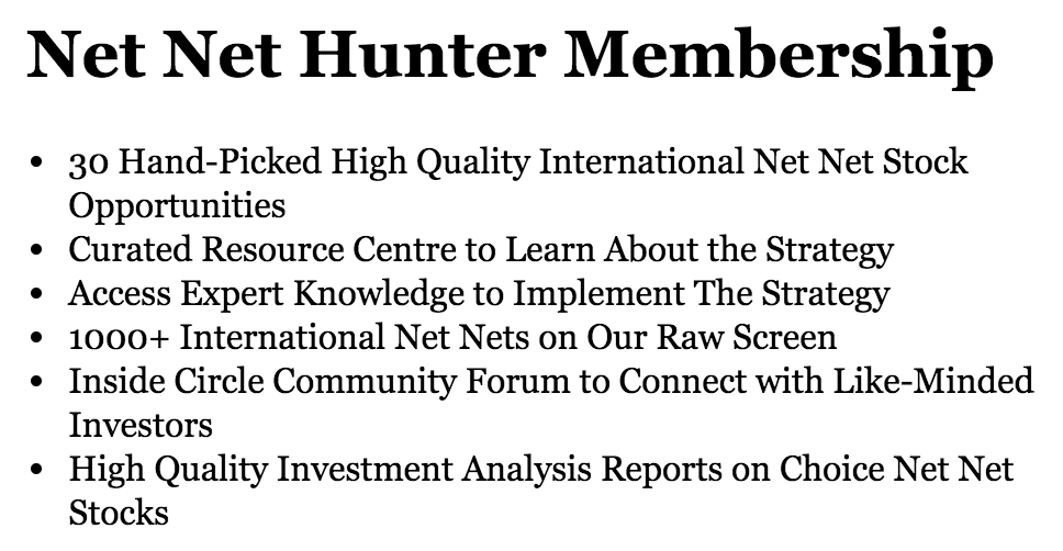 Net Net Hunter Membership Benefits